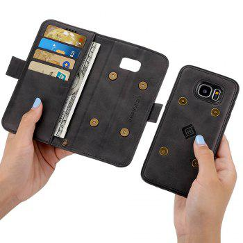 LCIMEEKE Solid Color Stitching Style 2 in 1 Detachable Magnetic Wallet Case for Samsung Galaxy S7 Edge -  BLACK