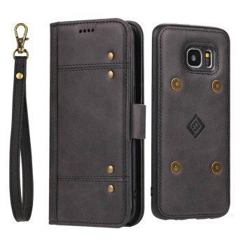 LCIMEEKE Solid Color Stitching Style 2 in 1 Detachable Magnetic Wallet Case for Samsung Galaxy S7 Edge - BLACK BLACK
