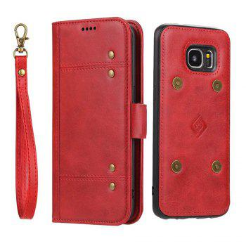 LCIMEEKE Solid Color Stitching Style 2 in 1 Detachable Magnetic Wallet Case for Samsung Galaxy S7 Edge - RED RED