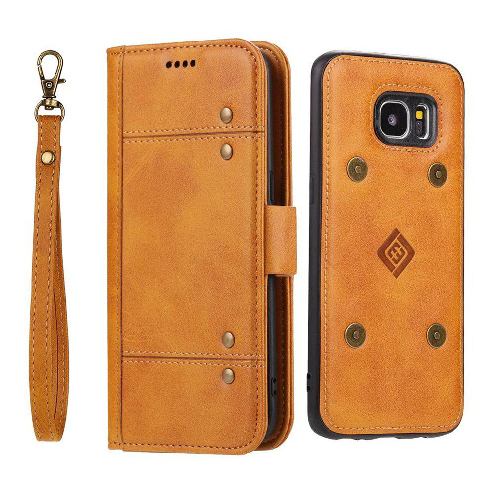 LCIMEEKE Solid Color Stitching Style 2 in 1 Detachable Magnetic Wallet Case for Samsung Galaxy S7 Edge - YELLOW