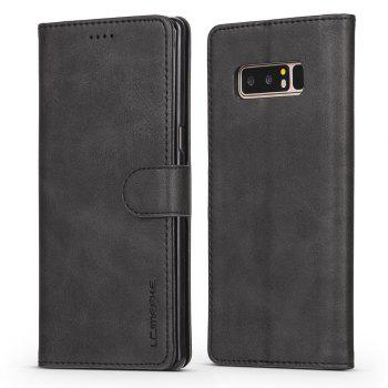 LCIMEEKE Solid Color Horizontal Flip Stand Wallet Case for Samsung Galaxy Note 8 - BLACK BLACK