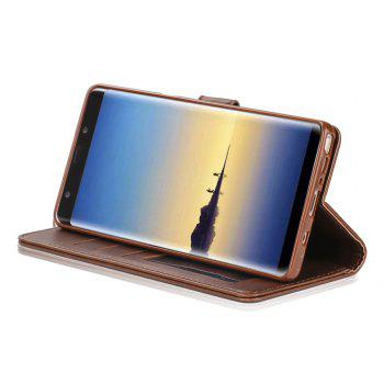 LCIMEEKE Solid Color Horizontal Flip Stand Wallet Case for Samsung Galaxy Note 8 - BROWN
