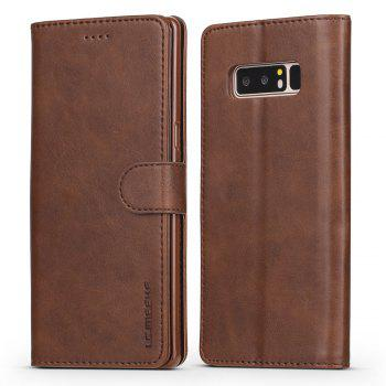 LCIMEEKE Solid Color Horizontal Flip Stand Wallet Case for Samsung Galaxy Note 8 - BROWN BROWN