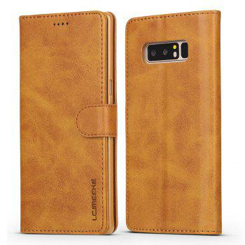 LCIMEEKE Solid Color Horizontal Flip Stand Wallet Case for Samsung Galaxy Note 8 - YELLOW YELLOW