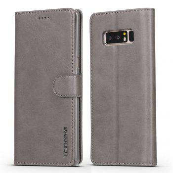 LCIMEEKE Solid Color Horizontal Flip Stand Wallet Case for Samsung Galaxy Note 8 - GRAY GRAY