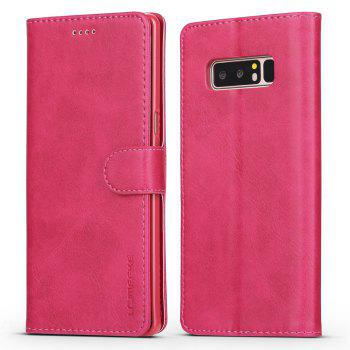 LCIMEEKE Solid Color Horizontal Flip Stand Wallet Case for Samsung Galaxy Note 8 - ROSE RED ROSE RED