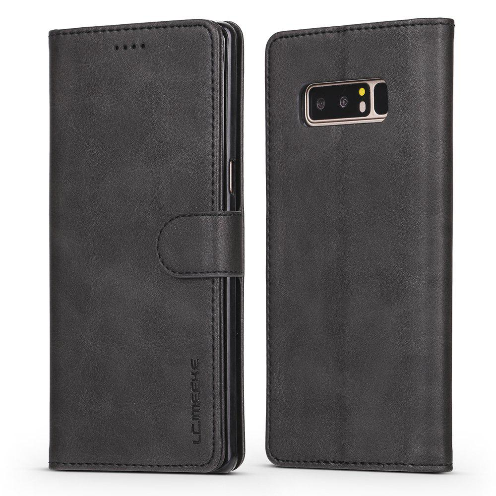 LCIMEEKE Solid Color Horizontal Flip Stand Wallet Case for Samsung Galaxy Note 8 - BLACK
