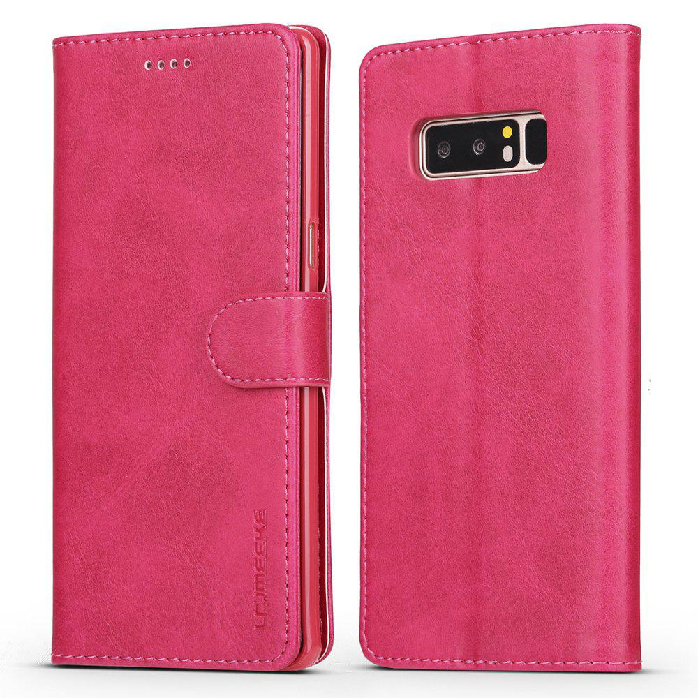 LCIMEEKE Solid Color Horizontal Flip Stand Wallet Case for Samsung Galaxy Note 8 - ROSE RED