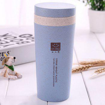 DIHE Wheat Straw Double Deck Vacuum Cup Cover Band Environmental Protection - BLUE BLUE
