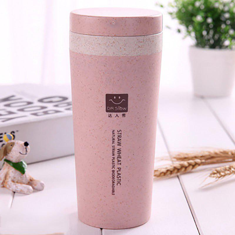 DIHE Wheat Straw Double Deck Vacuum Cup Cover Band Environmental Protection - PINK