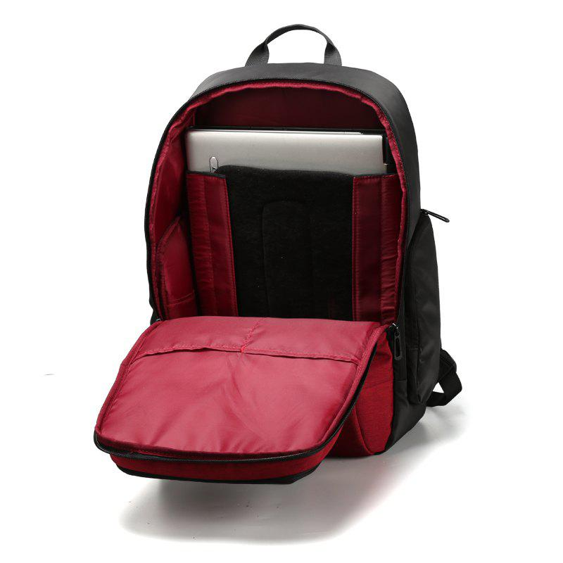 Men and Women Backpack Rechargeable Waterproof Laptop Bag Shoulders Anti-Theft - RED