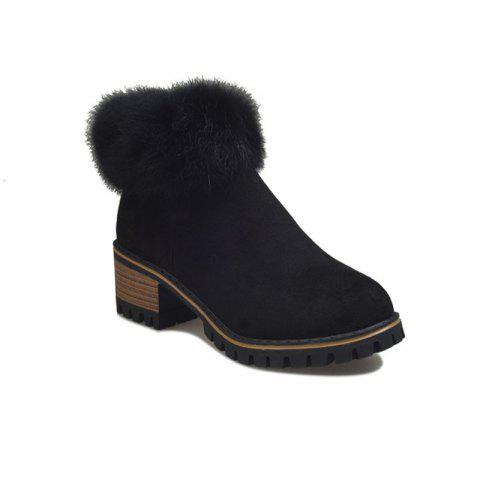 XS-323Thick and Round Head Zipper Warm Martin Boots - BLACK 37