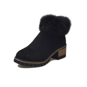 XS-323Thick and Round Head Zipper Warm Martin Boots - BLACK 38
