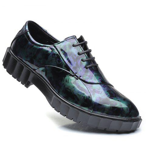 Men Business Fashion Casual British Comfort Leather Leisure Footwear Shoes - BLACK/PURPLE 44