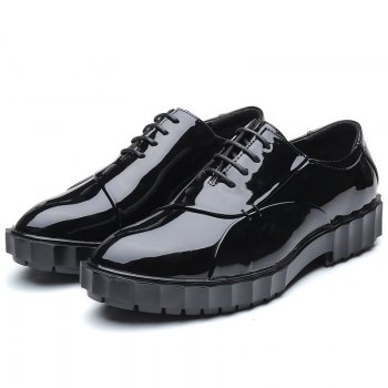 Men Business Fashion Casual British Comfort Leather Leisure Footwear Shoes - BLACK 40