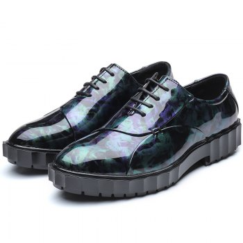 Men Business Fashion Casual British Comfort Leather Leisure Footwear Shoes - BLACK/PURPLE 38