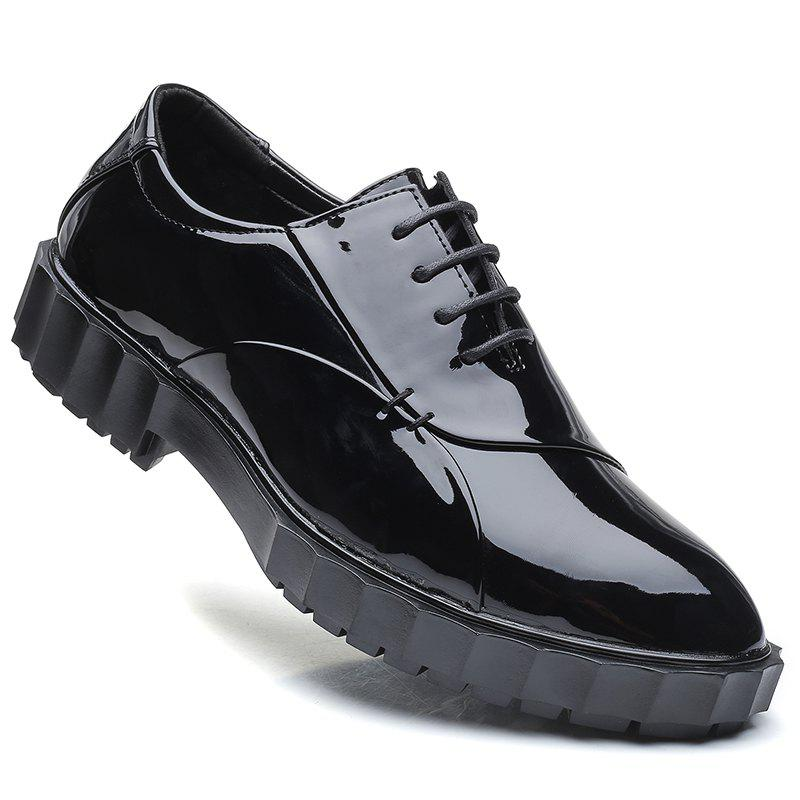 Men Business Fashion Casual British Comfort Leather Leisure Footwear Shoes - BLACK 43