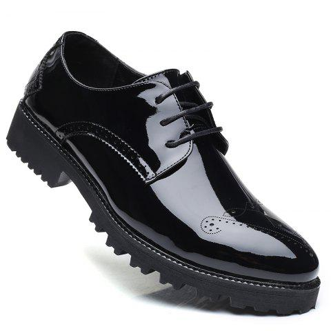 Men Business Fashion Casual British Comfort Leisure Leather Footwear Shoes - BLACK 43