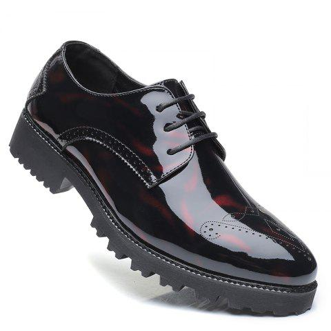 Men Business Fashion Casual British Comfort Leisure Leather Footwear Shoes - BLACK/RED 39