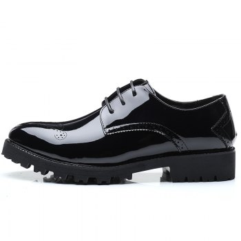 Men Business Fashion Casual British Comfort Leisure Leather Footwear Shoes - BLACK 38