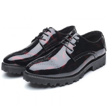 Men Business Fashion Casual British Comfort Leisure Leather Footwear Shoes - BLACK/RED 44