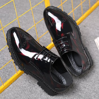 Men Business Fashion Casual British Comfort Leisure Leather Footwear Shoes - BLACK/RED 41