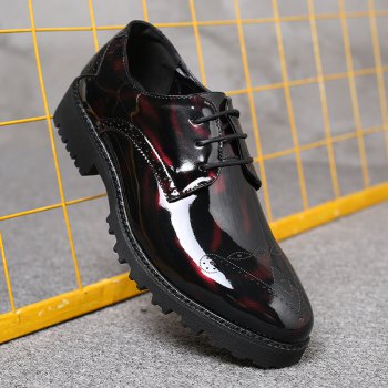 Men Business Fashion Casual British Comfort Leisure Leather Footwear Shoes - BLACK/RED 42