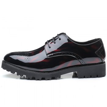 Men Business Fashion Casual British Comfort Leisure Leather Footwear Shoes - BLACK/RED 37