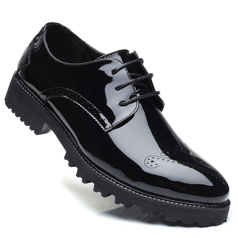 Men Business Fashion Casual British Comfort Leisure Leather Footwear Shoes - BLACK 40
