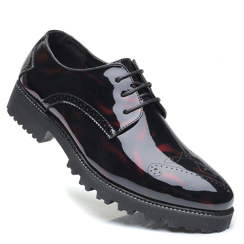 Hommes Business Fashion Casual Britannique Comfort Leisure Chaussures en cuir chaussures - BLACK/RED 42