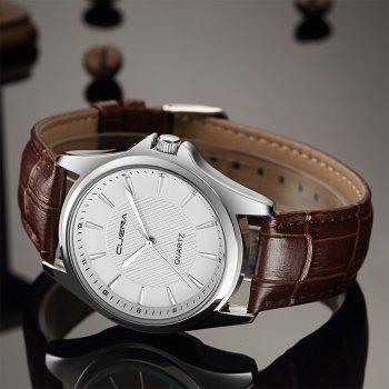 CUENA 6605P Mode Casual Simple Hommes Montre à Quartz - Bande marron cadran blanc