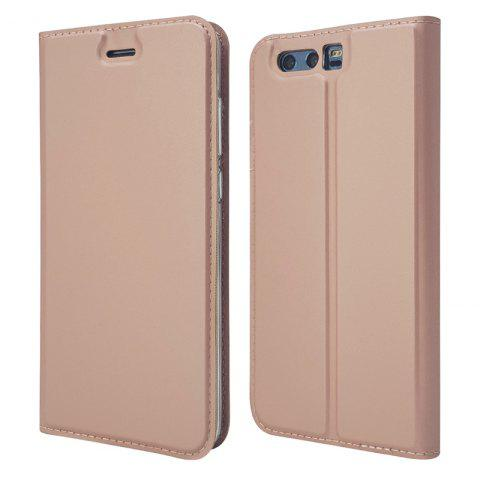 Pure Color Magnetic Pull in Leather Case Cover for Huawei Honor 9 - ROSE GOLD