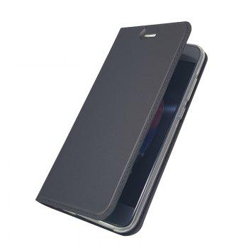 Pure Color Magnetic Pull in Leather Case Cover for Huawei Honor 9 -  GRAY