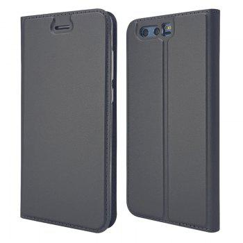 Pure Color Magnetic Pull in Leather Case Cover for Huawei Honor 9 - GRAY GRAY