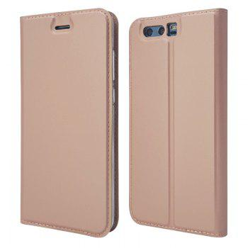 Pure Color Magnetic Pull in Leather Case Cover for Huawei Honor 9 - ROSE GOLD ROSE GOLD