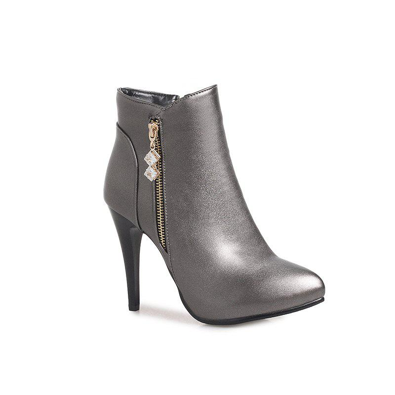 Women's Zipper Rhinestone Trim Stilettos Short Boots - GUN METAL 43