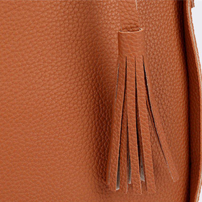 Four pieces of bucket tassels for women's single shoulder bag - BROWN