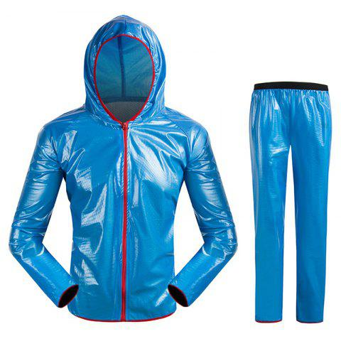 Split Raincoat Vêtements ultra-minces - Bleu 3XL