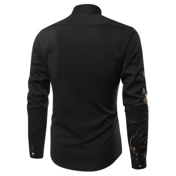 Fashion Leisure Bauhinia Men'S Long-Sleeved Shirt Men - BLACK L