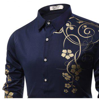 Fashion Leisure Bauhinia Men'S Long-Sleeved Shirt Men - CADETBLUE XL