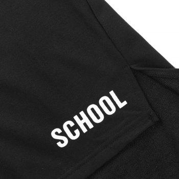 Fashion Letters Printed Large Size Loose Stitching Men'S Hoodie - BLACK L