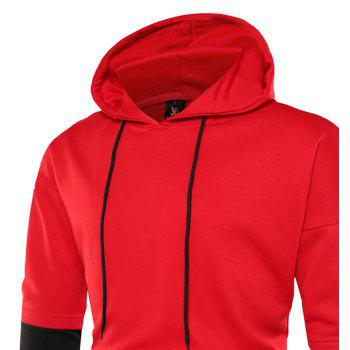 Fashion Letters Printed Large Size Loose Stitching Men'S Hoodie - RED 2XL