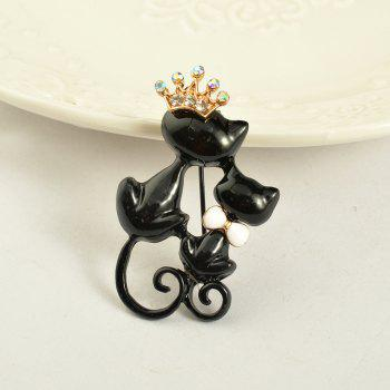 Black Mother Daughter Cats Brooches Crystal Crown Queen Corsages Hijab Pin Women Hats Scarf Suit Brooch Clothes Buckles -  BLACK