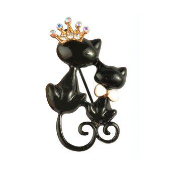 Black Mother Daughter Cats Brooches Crystal Crown Queen Corsages Hijab Pin Women Hats Scarf Suit Brooch Clothes Buckles - BLACK BLACK