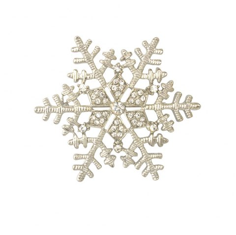 Christmas Gifts Snowflake Brooches For Women Garment Accessories Crystal Rhinestone Scarf Pins Brooches Jewelry - SILVER