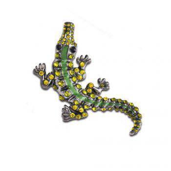Vintage Green Rhinestone Pin Crystal Crocodile Brooches For Men Jewelry - GREEN GREEN