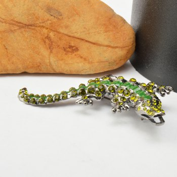Vintage Green Rhinestone Pin Crystal Crocodile Brooches For Men Jewelry -  GREEN