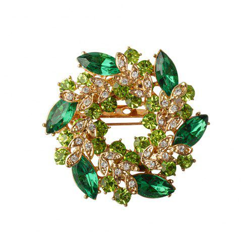 High-Grade  Brooches For Women  Korean Style Bauhinia Flower Corsage Crystal Rhinestone Brooch Pin Jewelry - MALACHITE GREEN