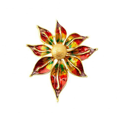 Crystal Flower Brooch Lapel Pin Fashion  Jewelry Women Wedding Hijab Pins Large Brooches For Women - GOLD/RED