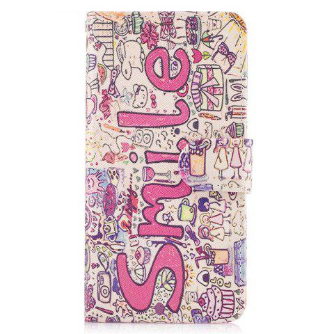 Bicycle Painting Card Lanyard Pu Leather Cover for HUAWEI P8 LITE 2017 - PINK